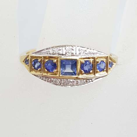 9ct Yellow Gold Ring Square and Round Blue Sapphires & Diamonds - Art Deco Style Bridge Setting