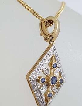 9ct Yellow Gold Natural Sapphire and Diamond Enhancer Pendant on Gold Chain