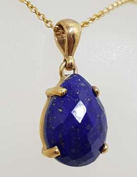 9ct Yellow Gold Faceted Teardrop / Pear Shape Lapis Lazuli Pendant on 9ct Chain