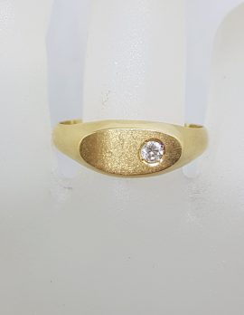18ct Yellow Gold Solitaire Diamond Oval Signet Gents Ring