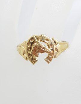 9ct Yellow Gold Horseshoe / Horse Head Ring - Ladies / Gents - Antique / Vintage