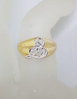 "14ct Yellow Gold Diamond Ampersand "" & "" Ring - Vintage"