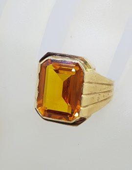 9ct Yellow Gold Large Rectangular Yellow Paste Ring - Antique / Vintage