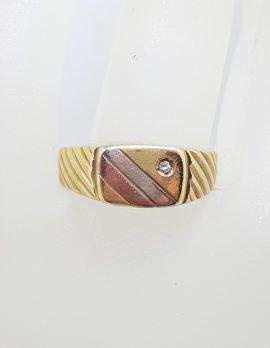 9ct Yellow, Rose and White Gold - Three Tone - Gents Diamond Ring