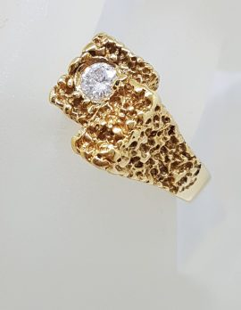 18ct Yellow Gold Large and Heavy / Solid Solitaire Diamond Unusual and Unique Patterned Gents Ring - Vintage / Antique