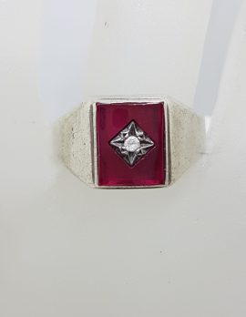 Sterling Silver Rectangular Red with Cubic Zirconia Gents Ring - Vintage