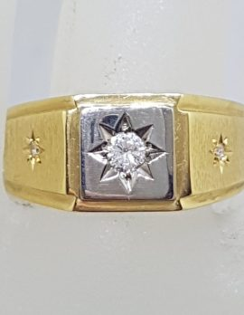 18ct Yellow Gold Heavy Diamond Gents Ring - Square *SOLD*