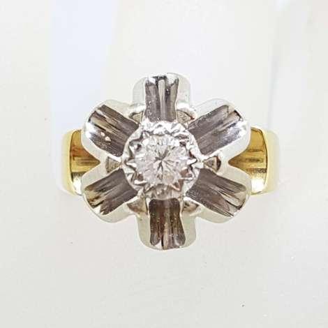 Very Unusual 18ct Gold & Platinum High set Diamond Ring - Heavy - Antique / Vintage