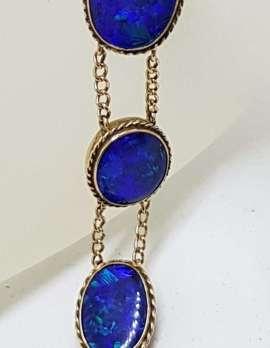9ct Rose Gold Stunning Blue Opal Bracelet - Antique / Vintage