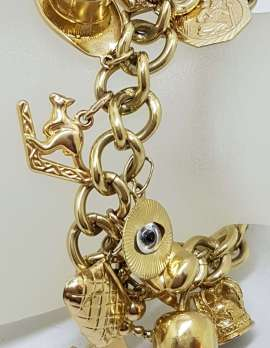 9ct Yellow Gold Heavy and Solid Curb Link Charm Bracelet with Heart Padlock - Antique / Vintage