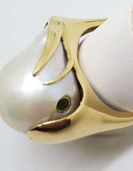 14ct Yellow Gold Large Baroque Pearl & Emerald Ring – Handmade