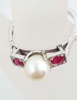 18ct White Gold & Platinum Pearl & Natural Ruby Ring - Antique / Vintage
