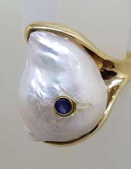 14ct Yellow Gold Large Baroque Pearl with Sapphire Ring - Handmade