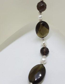 Sterling Silver Smokey Quartz and Pearl Bracelet