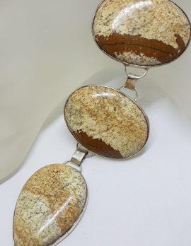 Sterling Silver Oval & Pear Shape / Teardrop Picture Jasper Large Bracelet
