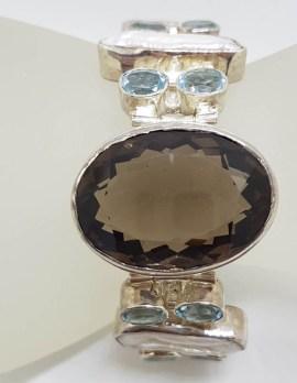 Sterling Silver Very Wide Blue Topaz, Blister Pearl and Smokey Quartz Bracelet