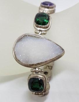 Sterling Silver Large Teardrop / Pear Shape Druzy Quartz with Green Quartz, Amethyst and Pearl Bracelet
