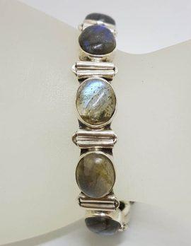 Sterling Silver Oval Labradorite Bracelet