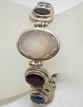 Sterling Silver Oval Druzy Quartz with Garnet and Topaz Bracelet