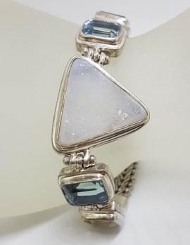 Sterling Silver Triangular Druzy Quartz with Citrine and Topaz Bracelet