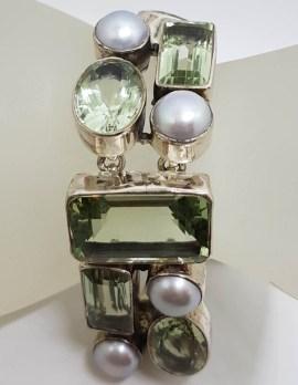 Sterling Silver Wide & Chunky Green Amethyst / Prasiolite and Pearl Bracelet