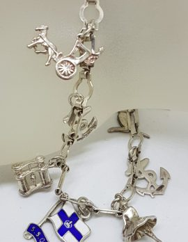 Sterling Silver Vintage Charm Bracelet with Assorted Charms