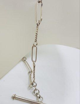 Sterling Silver Vintage T-Bar Twist and Oval Link Bracelet