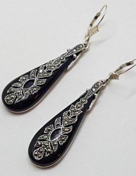 Sterling Silver Ornate Long Teardrop / Pear Shape Marcasite and Onyx Earrings
