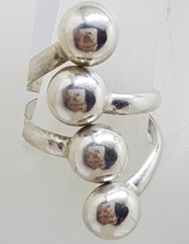 Sterling Silver Large and Wide Ball Design Ring - Vintage