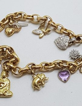 9ct Yellow Gold Assorted Charms Bracelet - Includes Diamond and Cubic Zirconia Charms
