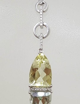 9ct White Gold Green Amethyst / Prasiolite , Citrine and Diamond Pendant on White Gold Chain