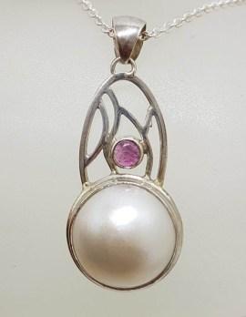 Sterling Silver Round Mabe Pearl & Tourmaline Ornate Arch Shape Pendant on Silver Chain