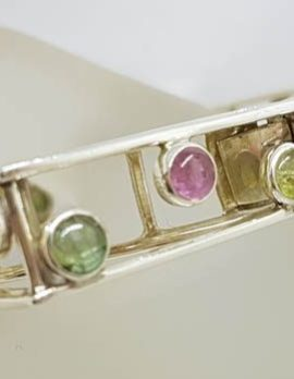 Sterling Silver Large Square Unusual Pink & Green Tourmaline Bangle - Hinged