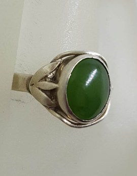 Sterling Silver Vintage Oval New Zealand Jade Ring