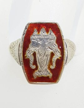 Sterling Silver Vintage Double Sided Spinner Siam Black and Red Enamel Ring