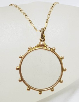 9ct Yellow Gold Round Glass Locket Pendant on Gold Chain - Antique / Vintage