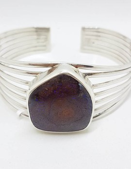 Sterling Silver Large Unsusual Shape Koroit Opal / Boulder Opal Large Open Design Bangle