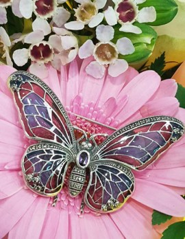 Sterling Silver Large Enamel and Marcasite with Amethyst Butterfly Brooch - Pink and Purple