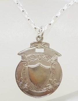 Sterling Silver Large Shield Medallion Pendant on Chain - Antique / Vintage