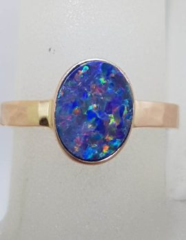 9ct Rose Gold Oval Blue Opal Ring - Cooper Pedy