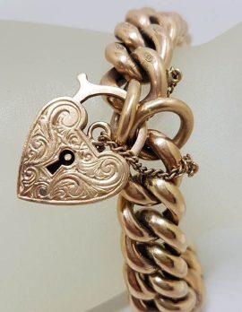 9ct Rose Gold Heavy Padlock Curb Link Bracelet - Antique / Vintage