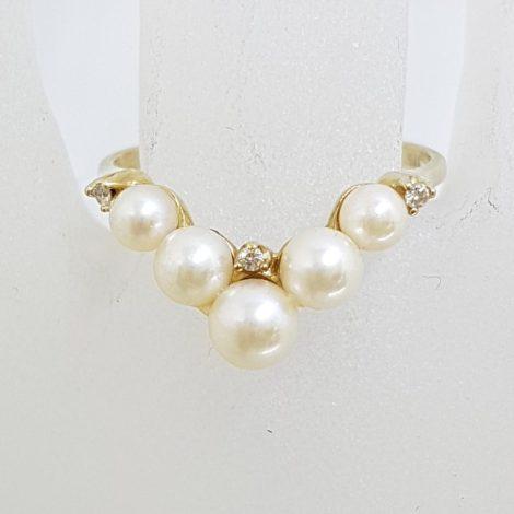 9ct Yellow Gold Pearl and Diamond Wishbone Ring