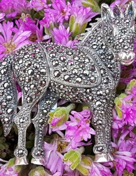 Sterling Silver Marcasite Large 3D Horse Brooch