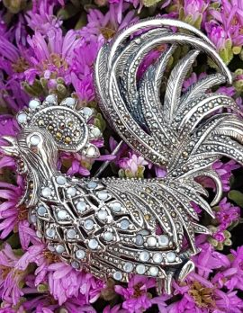 Sterling Silver Large Marcasite and Mother of Pearl Rooster Brooch