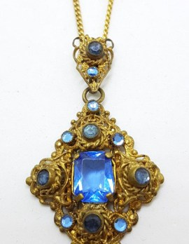 Plated / Lined Ornate Filigree Blue Stone Drop Pendant on Chain Necklace - Antique / Vintage