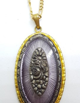Plated / Lined Ornate Oval Floral Purple Pendant on Chain - Antique / Vintage