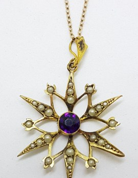Plated / Lined Ornate Round Purple Stone with Seedpearls Large Star Pendant on Chain - Antique / Vintage