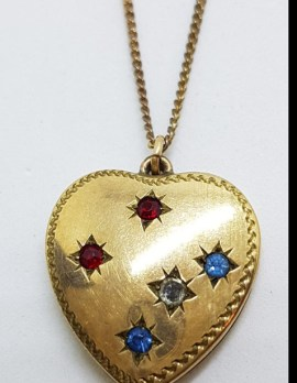 Lined / Plated Heart Locket with Blue, Red and White Pendant on Chain - Antique / Vintage