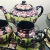 * SOLD *Moorcroft Violets Design Teaset - 6 x Cups/Saucers/Plates, 1 x Teapot, Milk Jug, Sugar Bowl and Tray