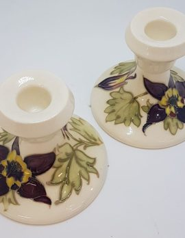 Moorcroft Style Floral Pair of White Candlesticks